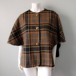 VTG Brown Tweed Plaid Cape Coat Poncho XS S M L