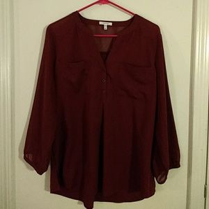 Maurices Burgundy Blouse