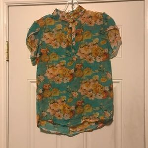 Floral short sleeved blouse in chiffon