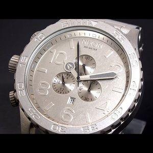 Mens Nixon Chrono 51-30 Raw Steel Watch
