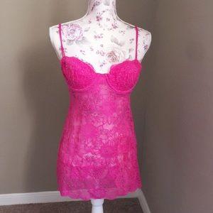 Victoria's Secret hot pink lace lingerie.