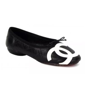 Chanel Black Quilted Leather Cambon Logo Flats 7