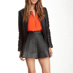 Socialite faux leather quilted skirt