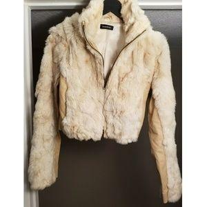 💕PRE-LOVED💕 EUC bebe Rabbit Fur & Leather Jacket