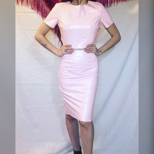 Two piece Pink vinyl top and skirt 🧜🏻♀️