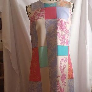 Taylor Dresses Scuba Sheath Patchwork Floral Dress