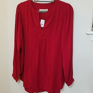 Loft red peasant blouse size m