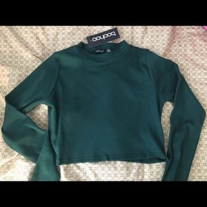 Boohoo ribbed forest green long sleeve crop top