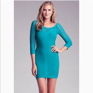 Bebe Kendra Open Stitch Yoke Dress In Blue 55$