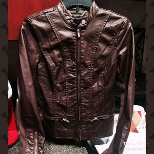 Stunning Shiny Brown Express Faux Leather Jacket