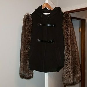 Leifsdottir brown faux fur wool cashmere coat