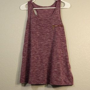 Grape Marled Maurices Tank with Gold Zipper Detail