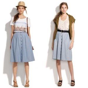 Madewell Chambray Sightseer Midi Skirt