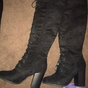 Knee high faux suede lace up boots