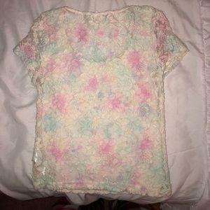 Lace floral crop top