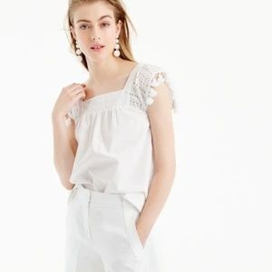 J Crew Womens 10P Top Tassel Trim Eyelet White 10P