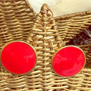 Big Bold Red Vintage Napier enamel clip earrings