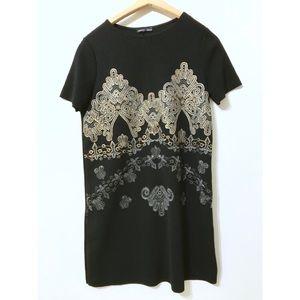 Zara Gold Design Shift Dress