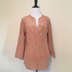 BCBG Peach Long Sleeve Shirt with gold accents