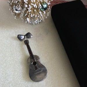Vintage Silver Brooch Pin Guitar
