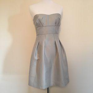 BCBG Strapless Silver Jacquard Dress