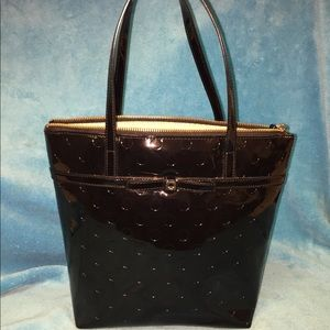 Kate spade mini tote bag in black patent