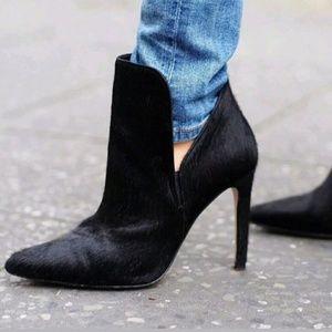 Zara Calf Hair Stiletto Boots Heels Black US 8