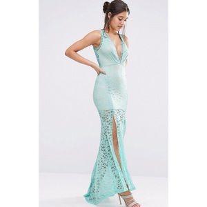 ASOS plunge neck lace maxi dress