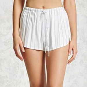 White and blue stripe dolphin shorts
