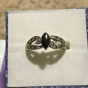 Jewelry - Vintage black onyx marquise and marcasites ring
