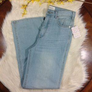FREE PEOPLE | glass blue light wash wide leg jeans