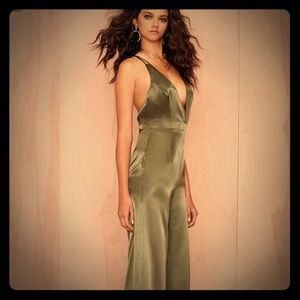 Nasty Gal After Party satin jumpsuit S olive green