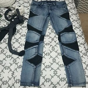 Bebe Mesh Skinny Jeans