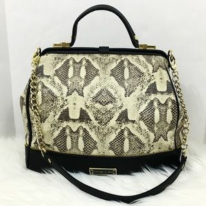 Olivoa + Joy Large Black Snake Skin Cross Bag