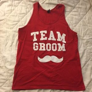 NEW Red Men's Team Groom Mustache Tank Top