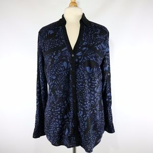 Express Black Blue Button Up Blouse Abstract Print