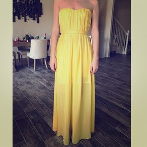 BCBGMAXAZRIA strapless gown with GLOW belt