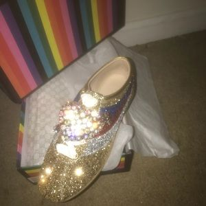 ef6029be92c Gucci Shoes - Gucci falacer glitter sneaker with web