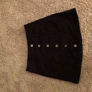Black button-up suede skirt