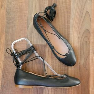 Madewell Inga Lace Up Leather Ballerina Flats