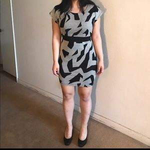 Gray and black patterned dress