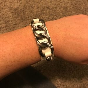 White leather with chain bracelet