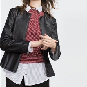NWT ZARA Faux Leather Peplum Jacket