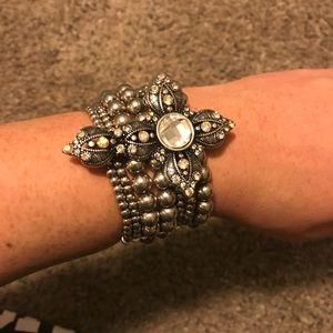 Stretchy beaded big cross bracelet
