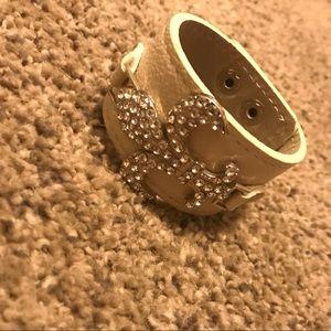 Fleur de lis leather bracelet