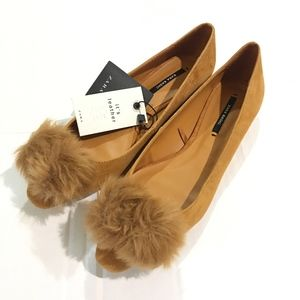 NWT Zara Camel Tan Suede Fur Ball Poof Ballet Flat