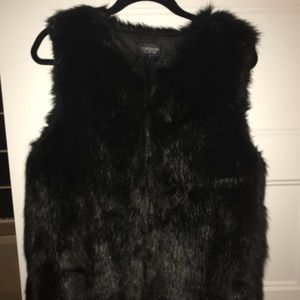 Topshop Black Faux Fur Vest