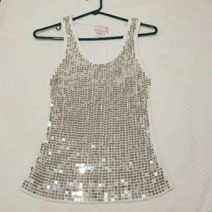 Romeo & Juliet culture sparkly tank top white sz L
