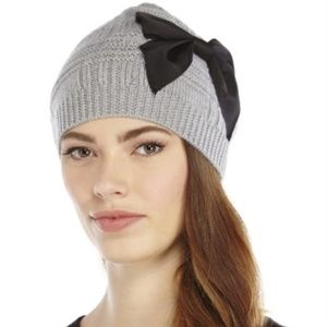 kate spade stitched bow slouchy beanie grey