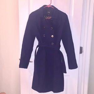 EXPRESS dark purple double breasted wool coat XS